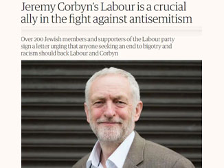 Guardian Letter – Jeremy Corbyn's Labour is a crucial ally in the fight against antisemitism