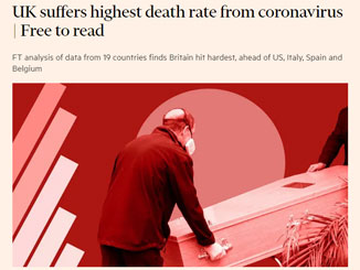 UK deaths amongst highest in world – Stop lifting the lockdown