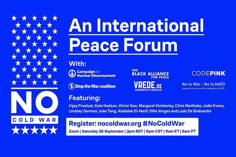 No Cold War event: International Peace Forum on 26 September