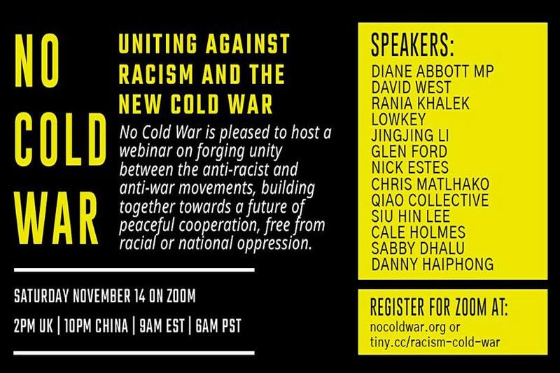 Uniting Against Racism & the New Cold War – 14 November webinar