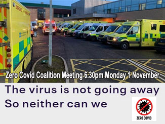 'The virus is not going away. So neither can we' – Meeting 6.30pm Monday 1 November